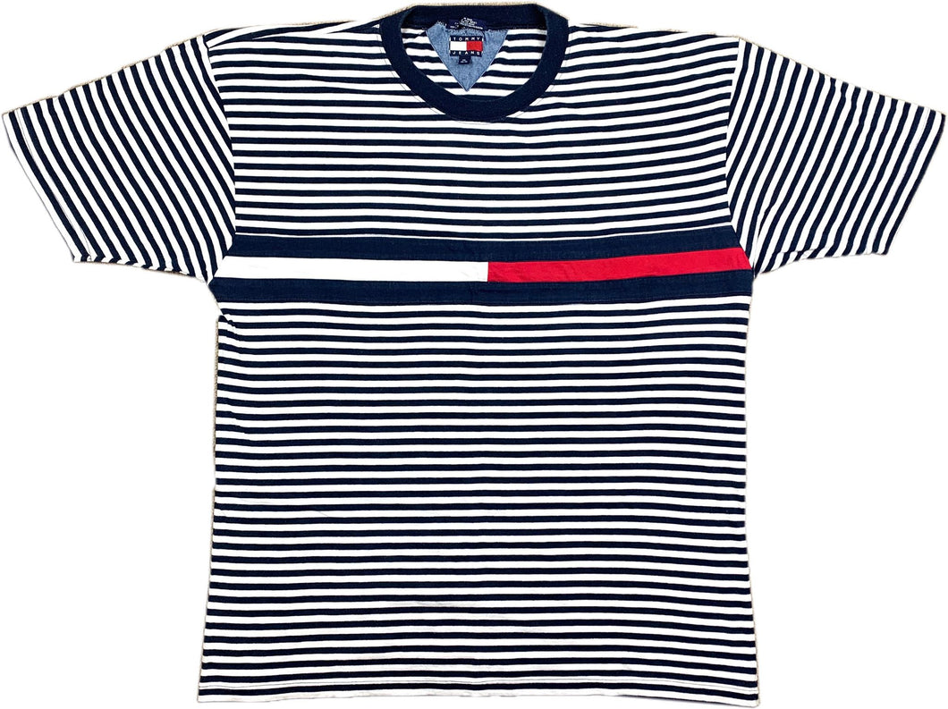 Vintage Tommy Hilfiger Striped Big Flag Tee (Navy Blue)