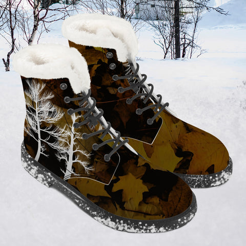 Winter Trees Camo - Faux Fur Leather Boots