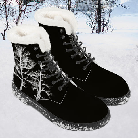 Winter Tree - Black Boots - Faux Fur - Vegan leater