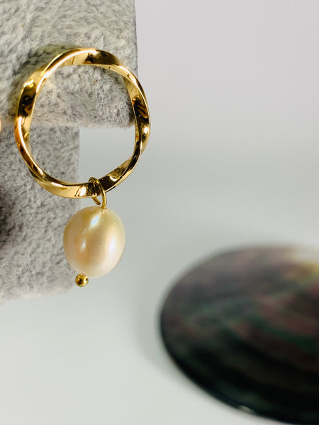 Gold Hoops and Pearls Earrings