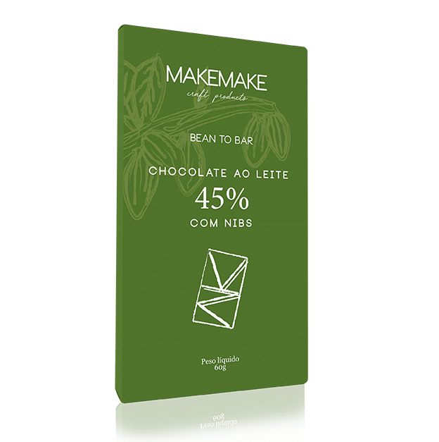 TABLETE DE CHOCOLATE AO LEITE 45% COM NIBS
