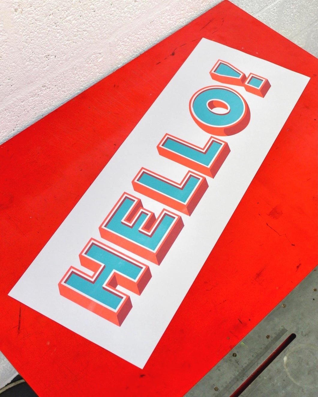 HELLO! - Chromatic Letterpress Print