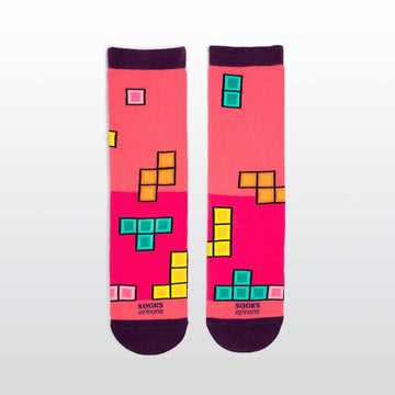 Pink Falling Blocks Game Socks