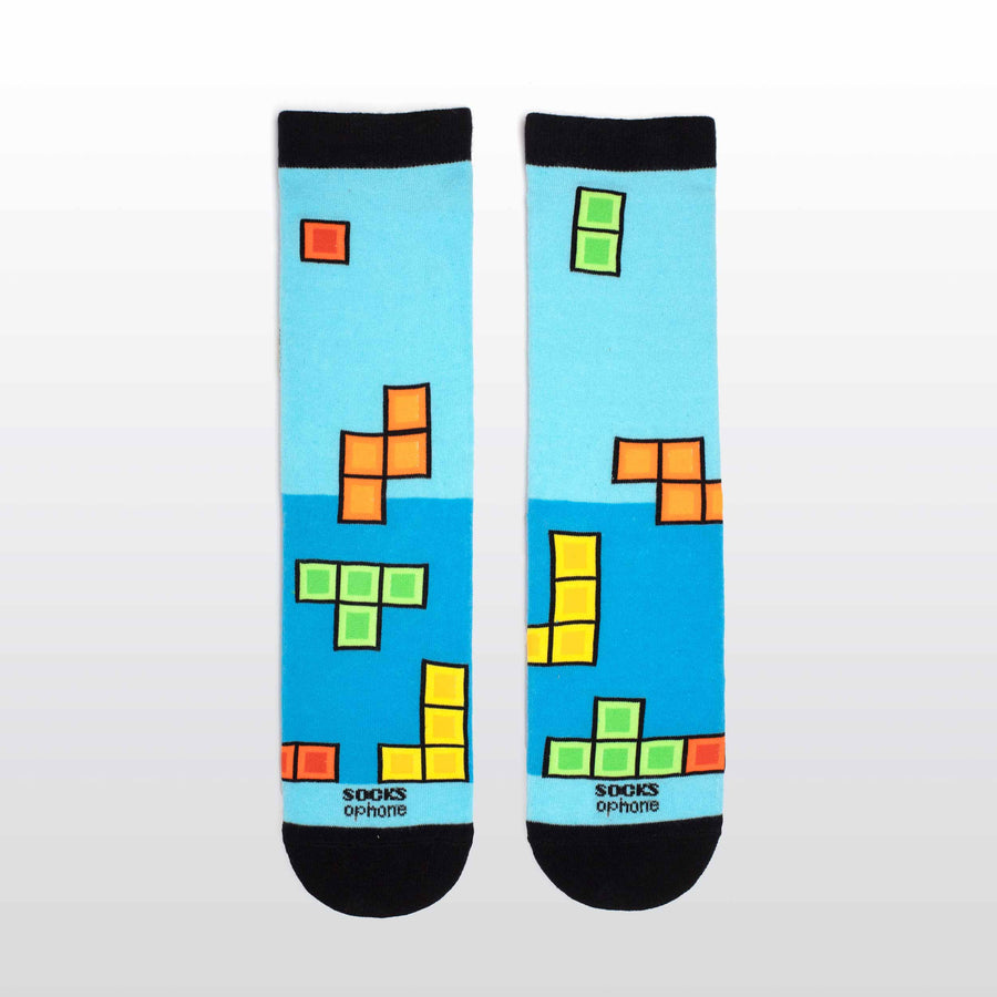 Blue Falling Blocks Game Socks