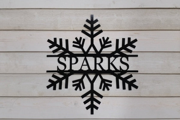 Snowflake Personalized Metal Name Sign
