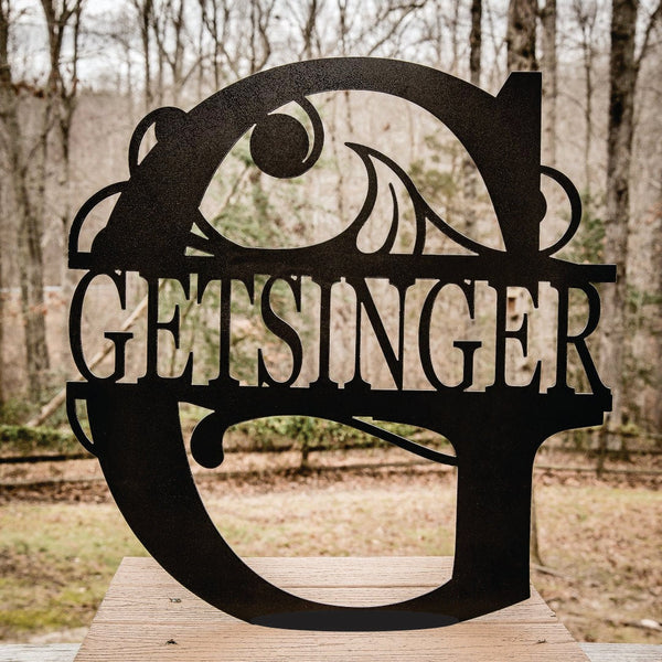 Flourish Personalized Metal Name Sign