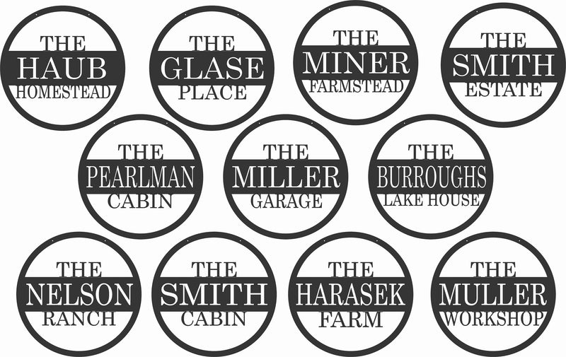 Circle Personalized Metal Name Sign