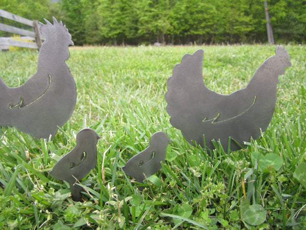 Chicken Family Metal Garden Stakes