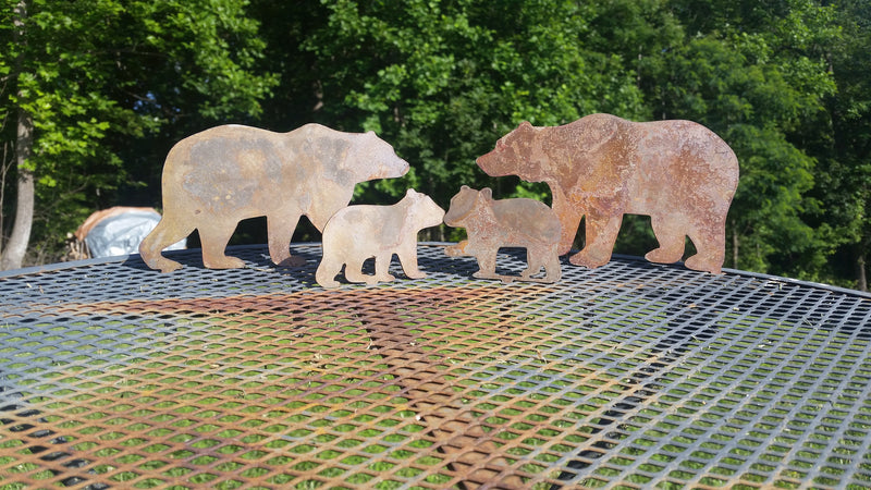 Bear Family Metal Garden Stakes