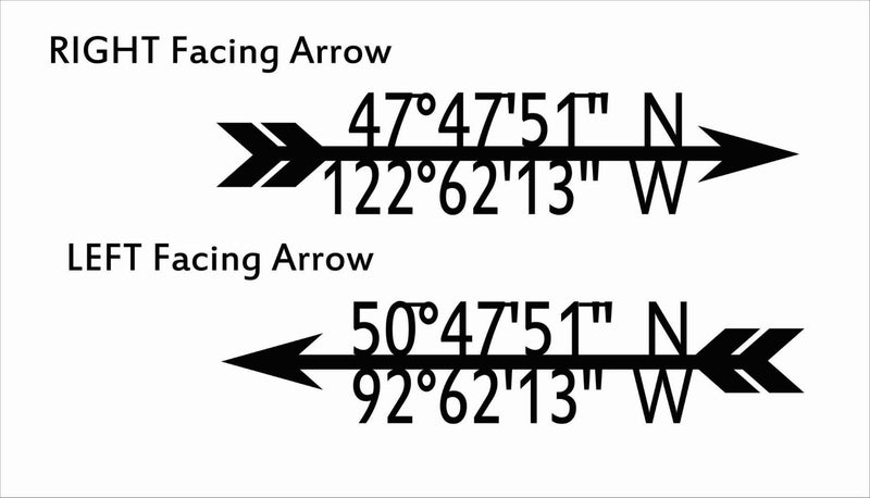 Arrow GPS Coordinate Metal Sign