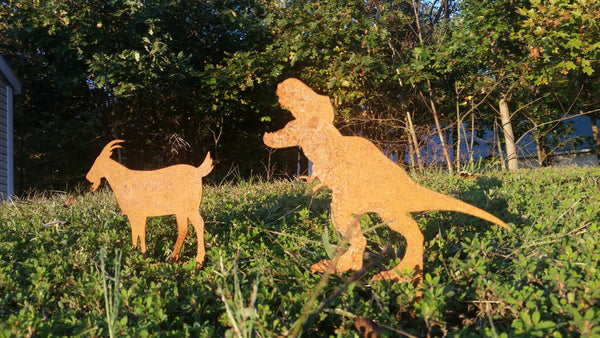 Jurassic Park TREX and Goat Metal Garden Stake Set