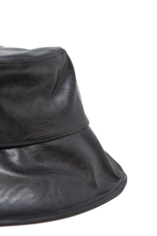 Jadon Black Vegan Leather Bucket Hat