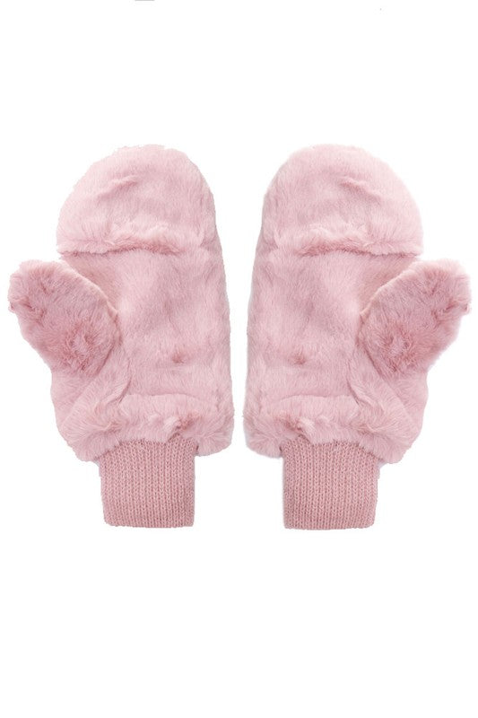 Faux Fur Sherpa Lined Convertible Mittens