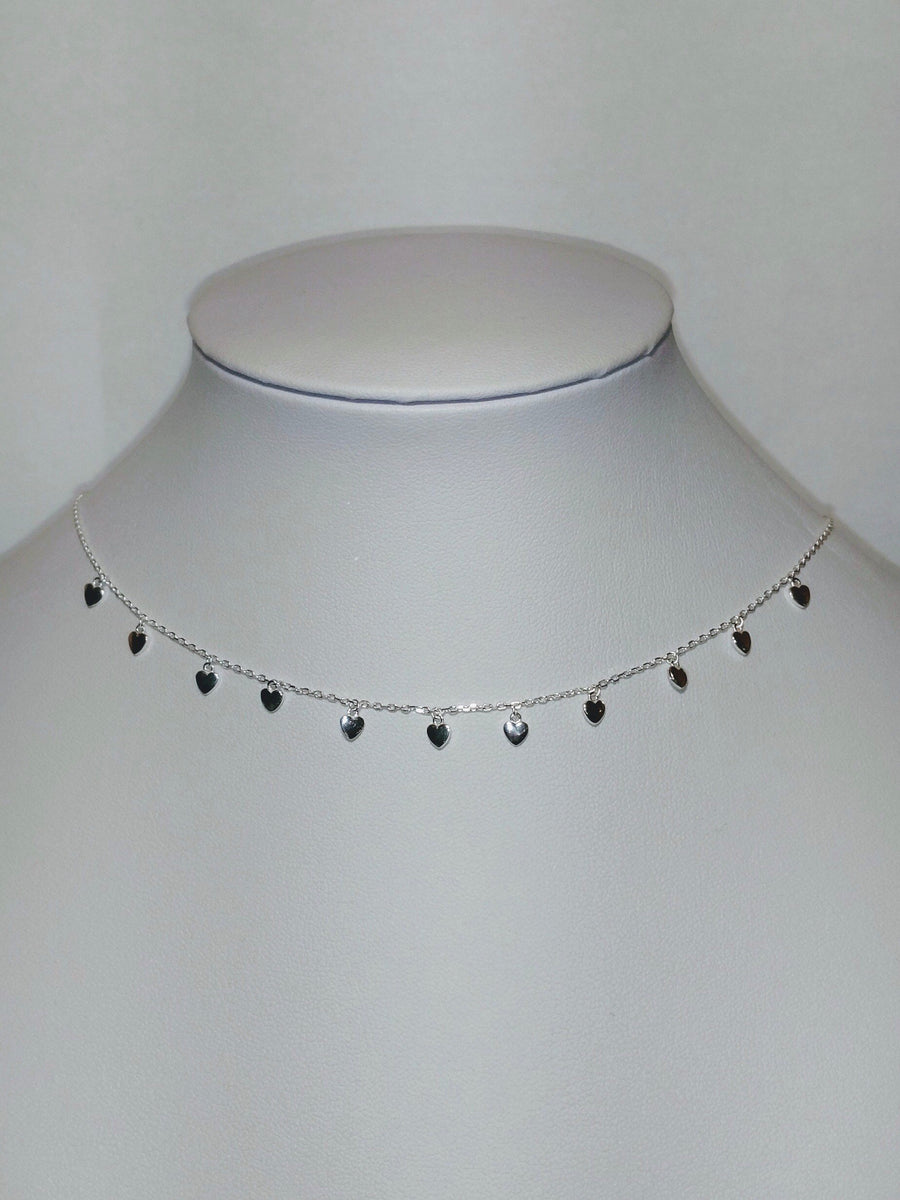 Dangle Heart Sterling Silver Choker