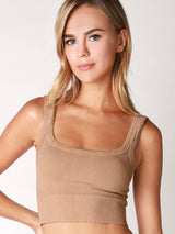 New Vintage Beige Chevron Crop Top