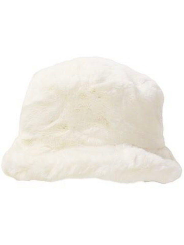 Zola Faux Fur White Bucket Hat