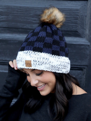 Navy Buffalo Plaid Pom Hat