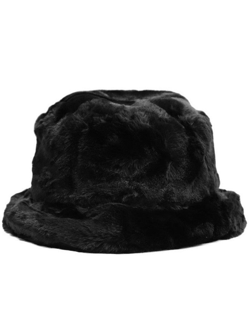 Zola Faux Fur Black Bucket Hat