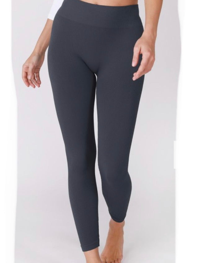 Ribbed High Waist Ink Blue Leggings