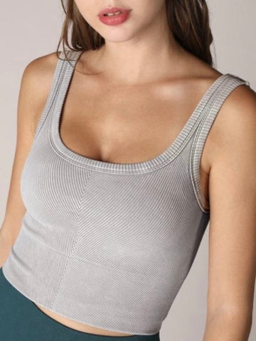 New Vintage Cool Grey Chevron Crop Top