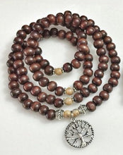 Load image into Gallery viewer, BALANCE / Prayer Beads / Mala Beads / Mala Necklace / Crazylace Agate / Tree of Life