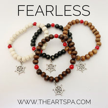 Load image into Gallery viewer, FEARLESS / Simple Reminder Bracelet / Mala Bracelet / Red Jade / Boat Wheel