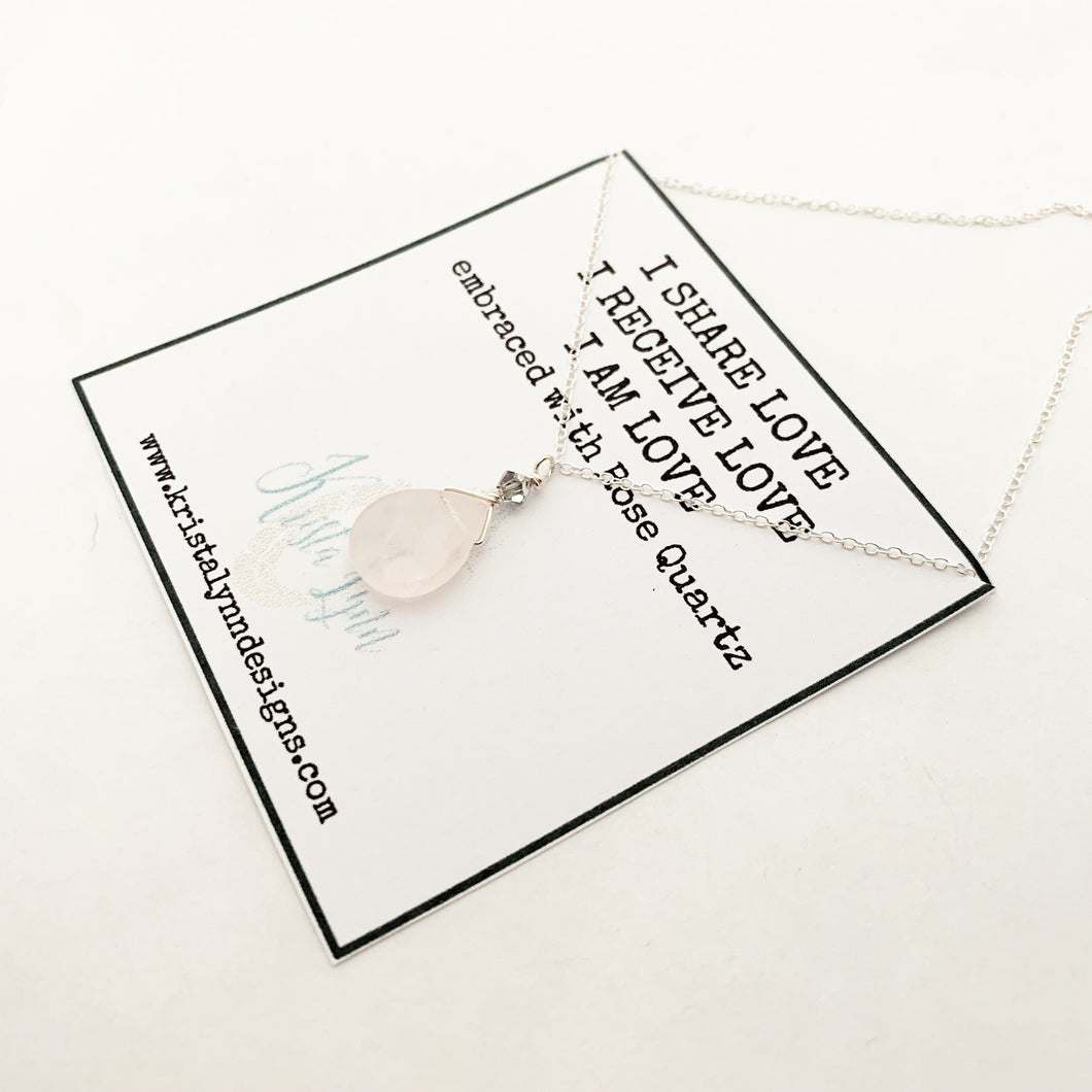 I Share Love I Receive Love I AM Love / Rose Quartz / Simple Reminder Necklaces / Sterling Silver / Intention Necklaces