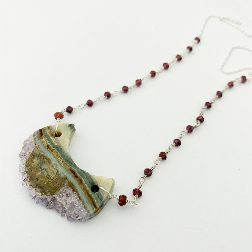 Beneath the Surface Necklace / Garnet / Agate / Amethyst