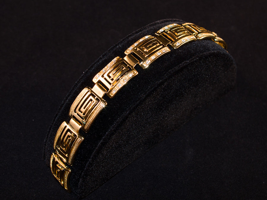 "Gold Designer Iced ""G"" Bracelet - All4Gold.com"