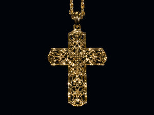 18K Gold Gothic Style Cross - 24 Inch Rope Chain - All4Gold.com