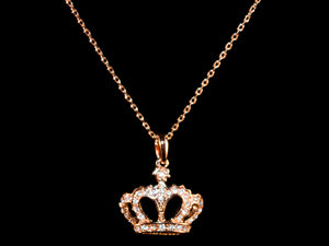 18K Rose Gold Crystal Crown Charm & Necklace - All4Gold.com