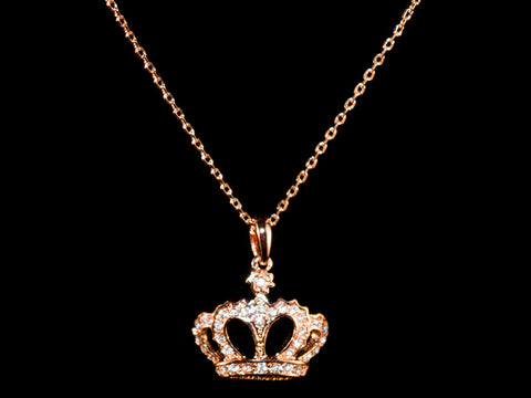 18K Rose Gold Crystal Crown Charm & Necklace