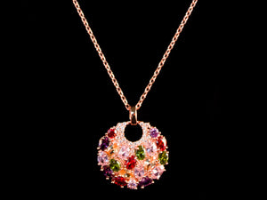 Colorful 18K Rose Gold Crystal Charm & Necklace - All4Gold.com