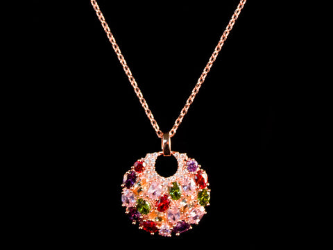 Colorful 18K Rose Gold Crystal Charm & Necklace