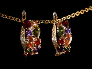 18K Gold Colorful Crystal Hoop Earrings - All4Gold.com