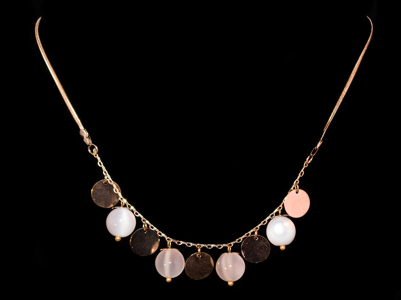 Gold Opal Decorative Necklace