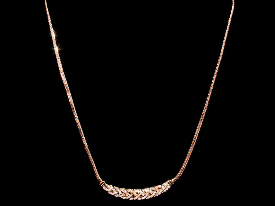18K Gold Woven Crystal Necklace - All4Gold.com