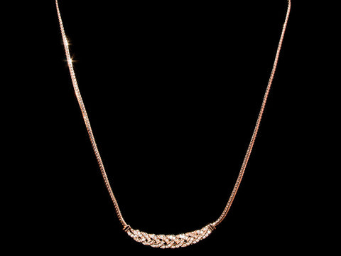18K Gold Woven Crystal Necklace