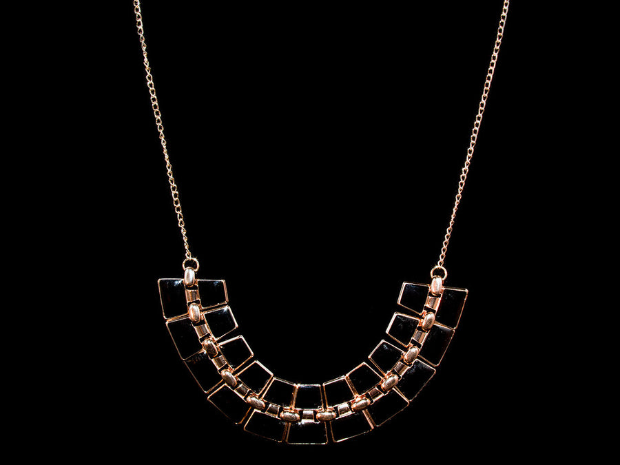 Black & Rose Gold Onyx Glamour Necklace - All4Gold.com