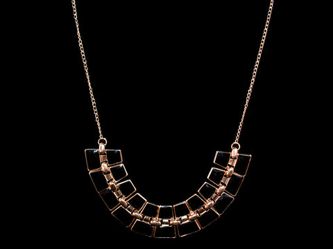 Black & Rose Gold Onyx Glamour Necklace