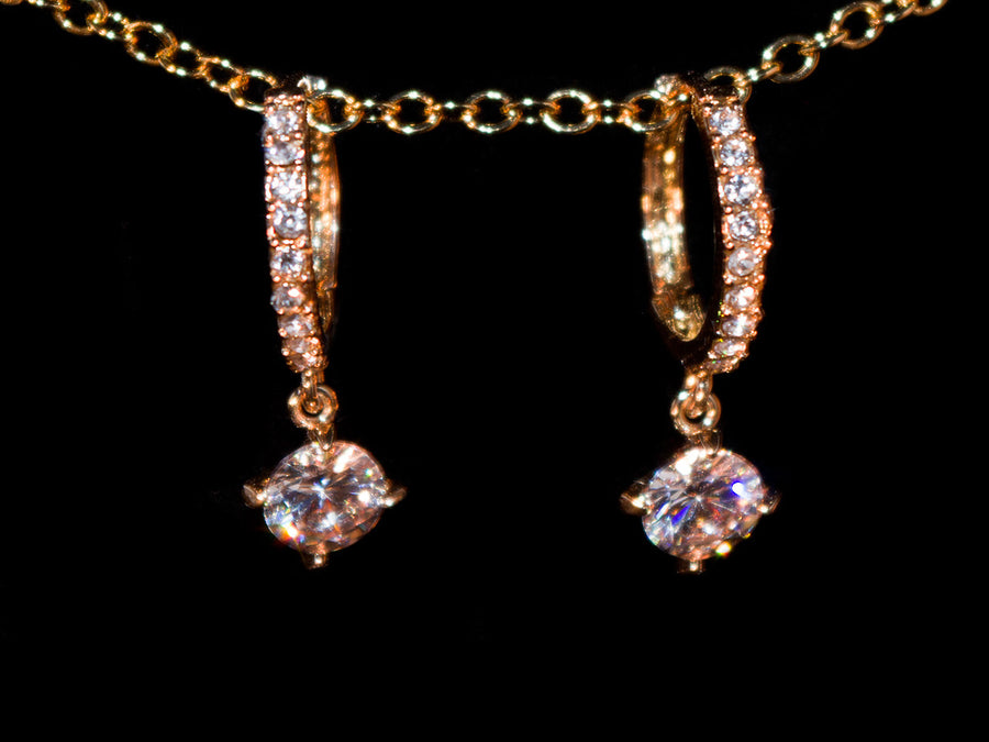 18K Gold Hanging CZ Hoop Earrings - All4Gold.com