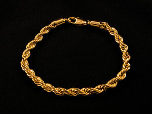 18K Gold 6mm Rope Bracelet - All4Gold.com