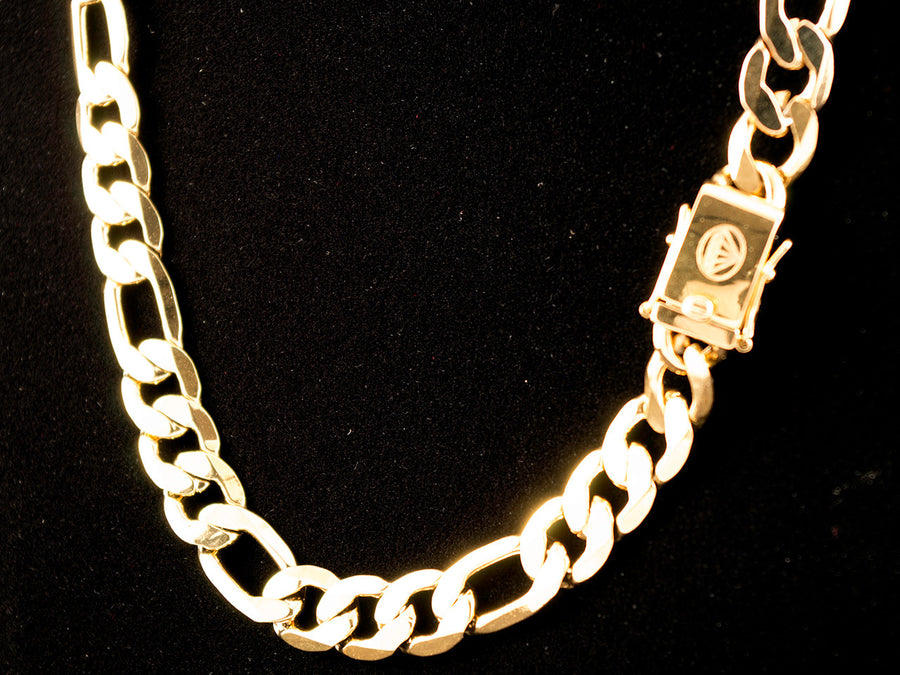 "18K Gold 10mm 26"" Box Clasp Figaro Chain - All4Gold.com"