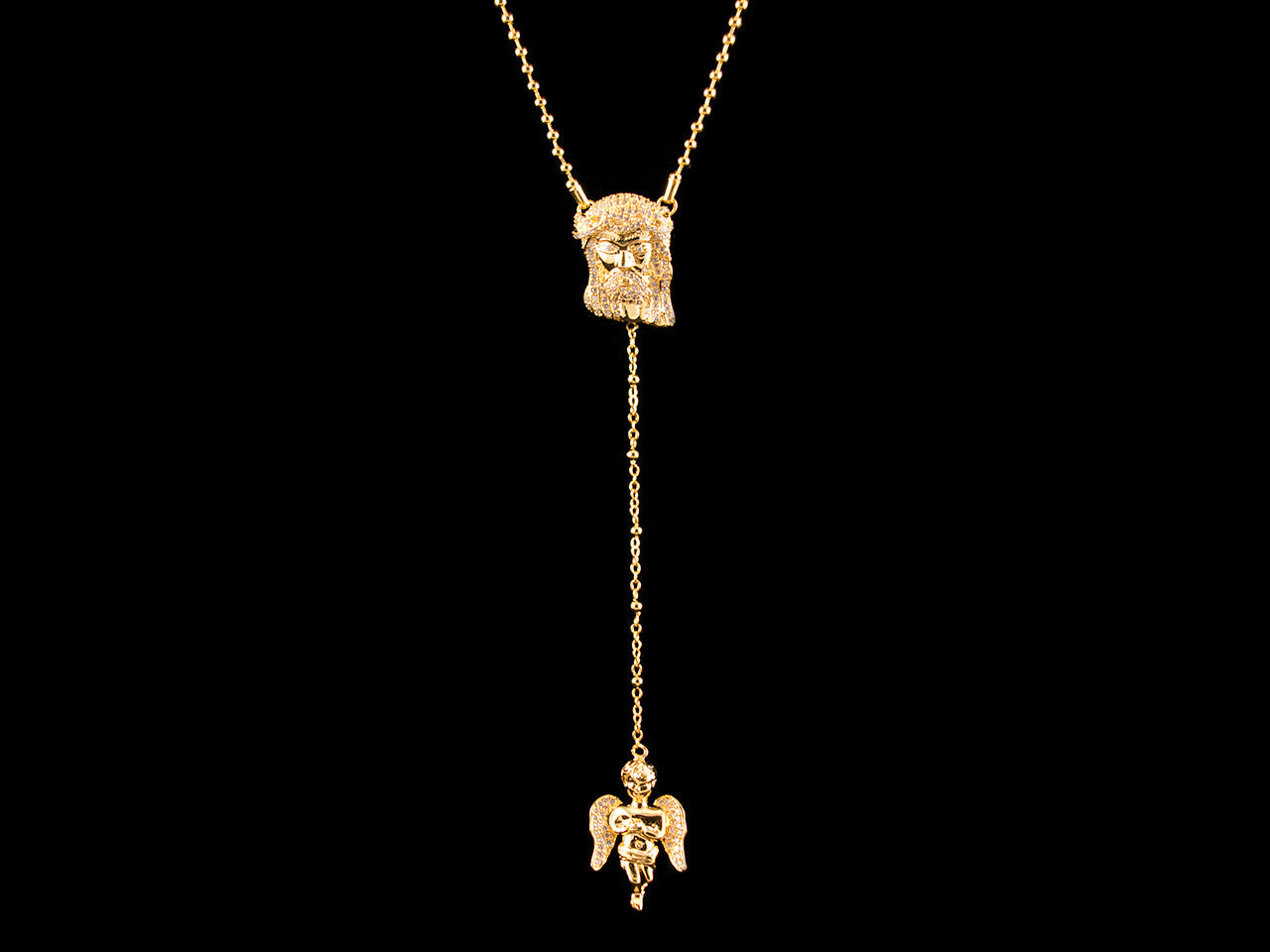 18K Gold Beaded Rosary Jesus & Angel Necklace - 28 Inch