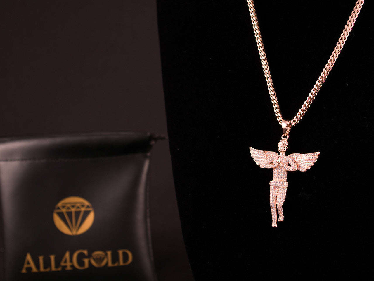 Rose Gold Paved Praying Angel Charm & Franco Necklace