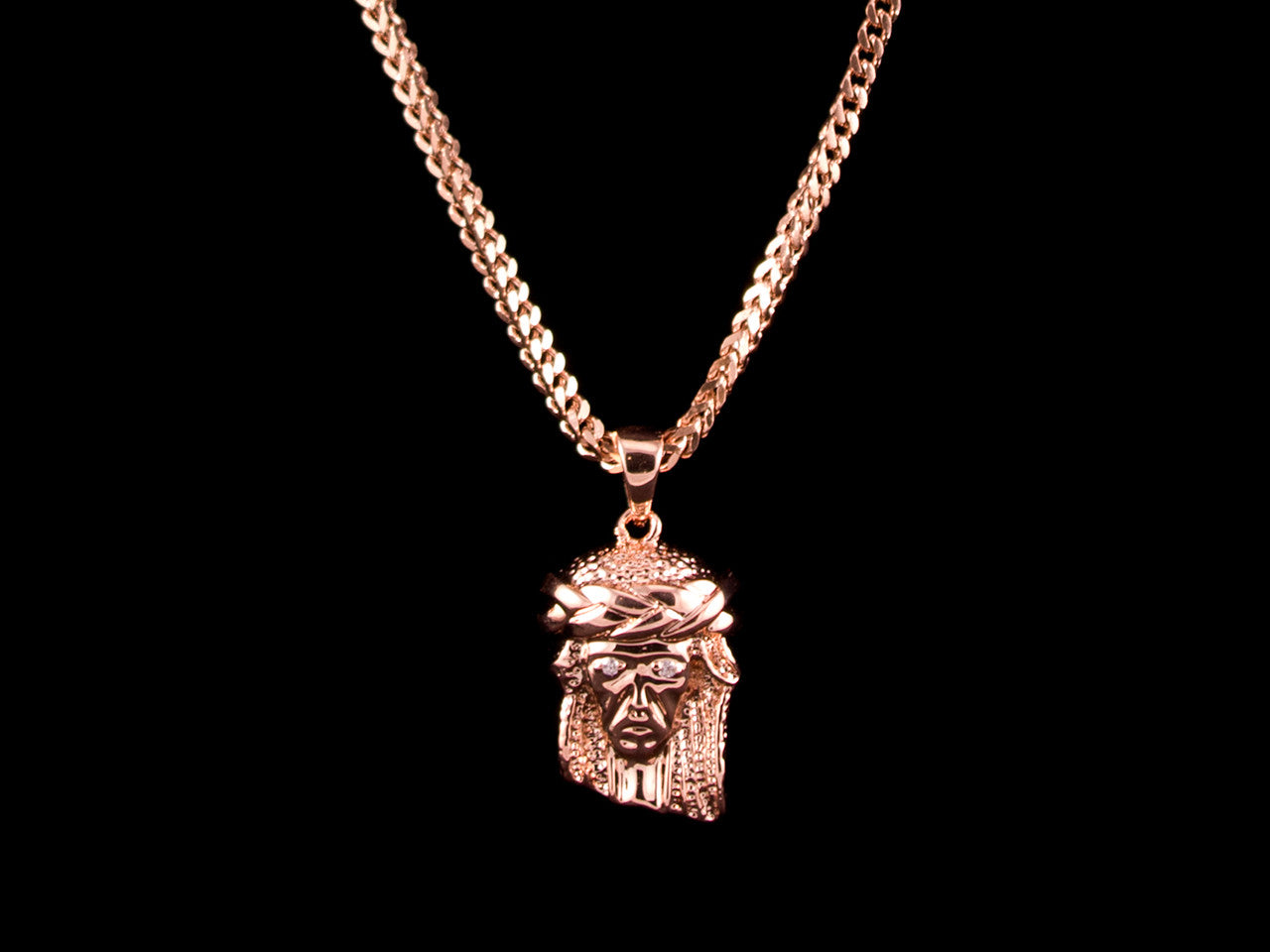 Rose Gold Jesus Piece + Necklace