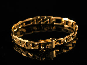18K Gold 10mm Figaro Bracelet - All4Gold.com