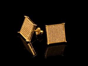 Gold Micro Pave Square Stud Earrings - 12mm - All4Gold.com