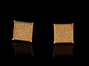18K Gold 12mm Iced Square Stud Earrings - All4Gold.com