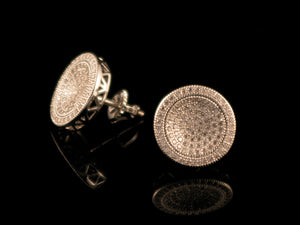 12mm White Gold Round Micro Pave Cluster Earrings - All4Gold.com